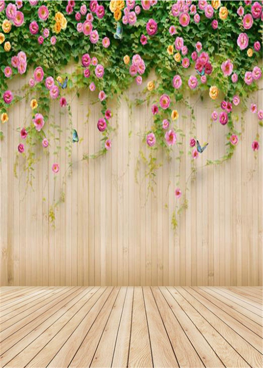 5x7ft Wooden Floor Working Room Flowers Photography Background Computer-Printed Vinyl Backdrops