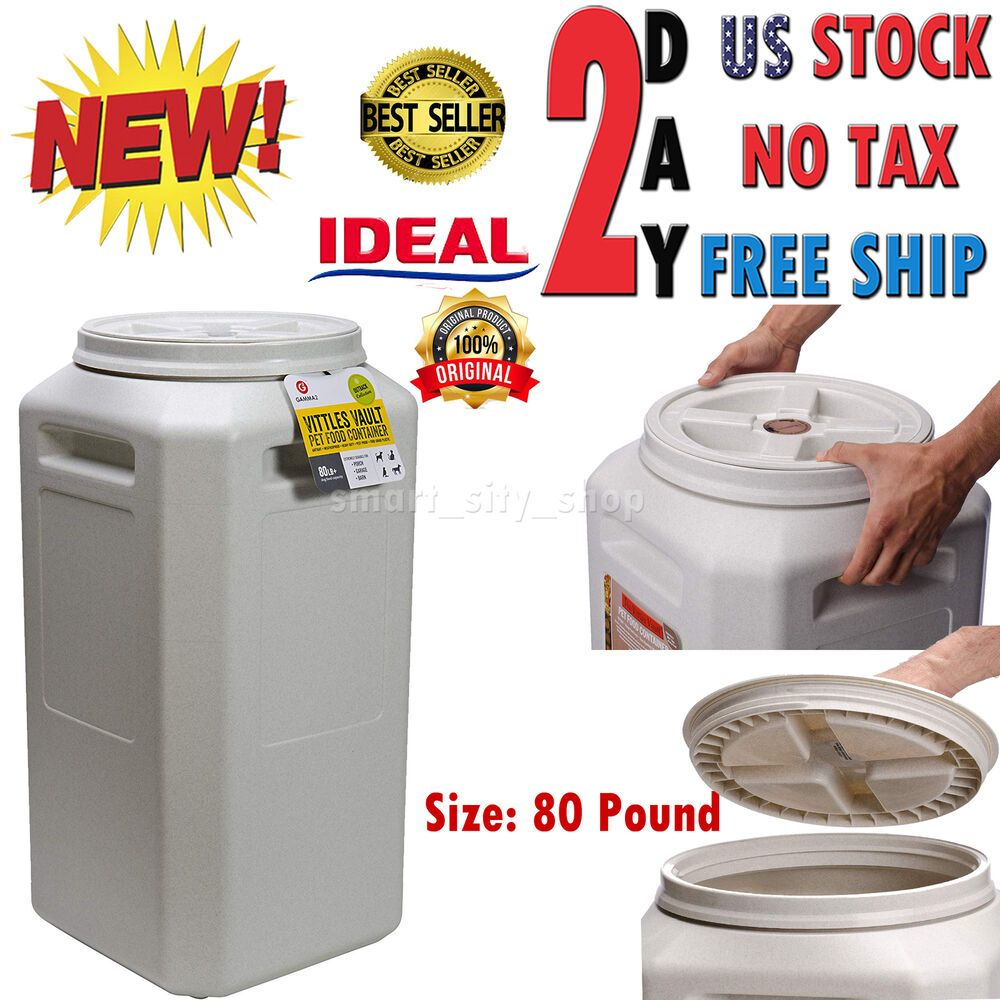 Airtight 80 Lb Pet Food Container Storage Lid Bin Animal Dog Cat