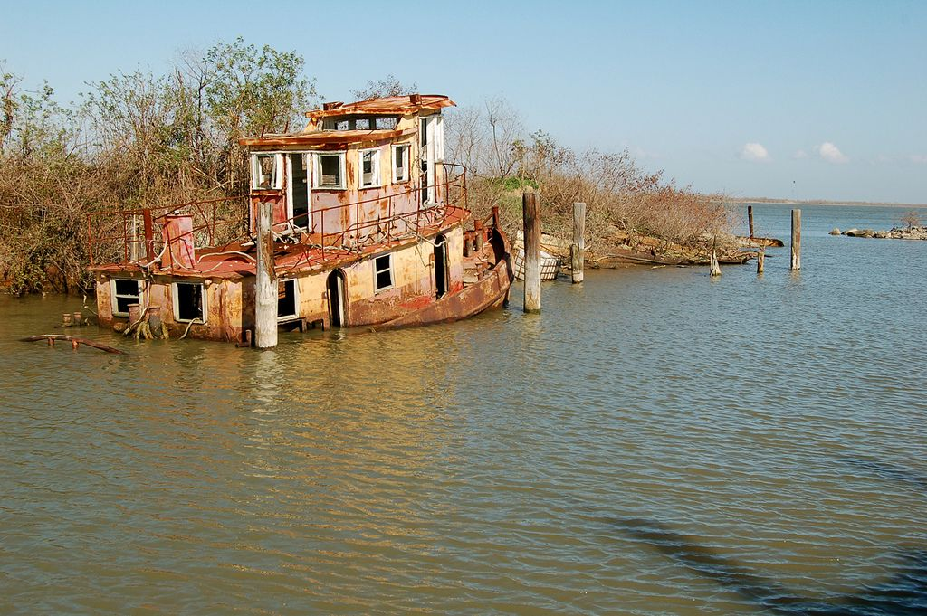 Abandoned Tugboat Near Buras, Louisiana. This Is On The Back Levee Where I  Ride