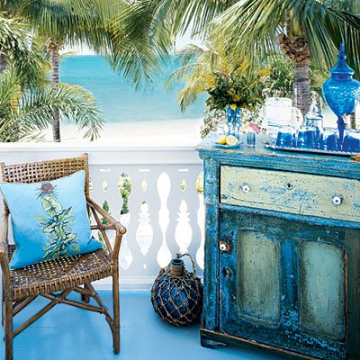 Love this old chest on a porch!!