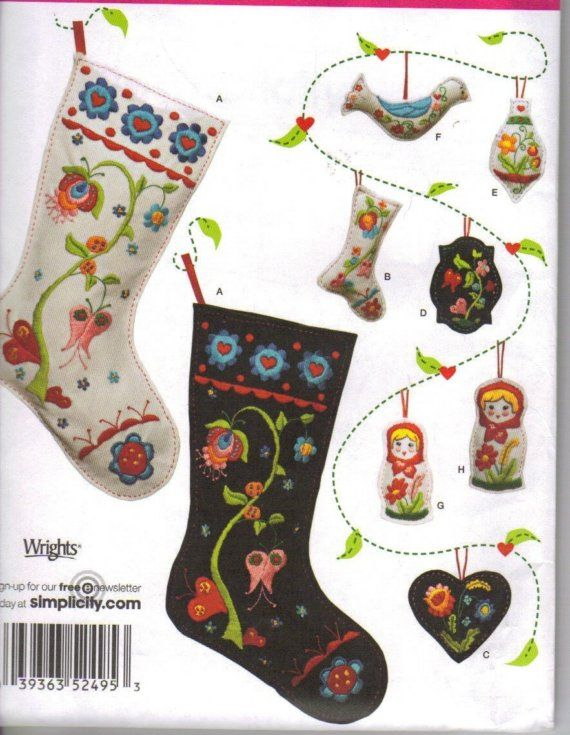 Embroidered Felt Ornaments and Christmas Stockings Pattern | crafts ...