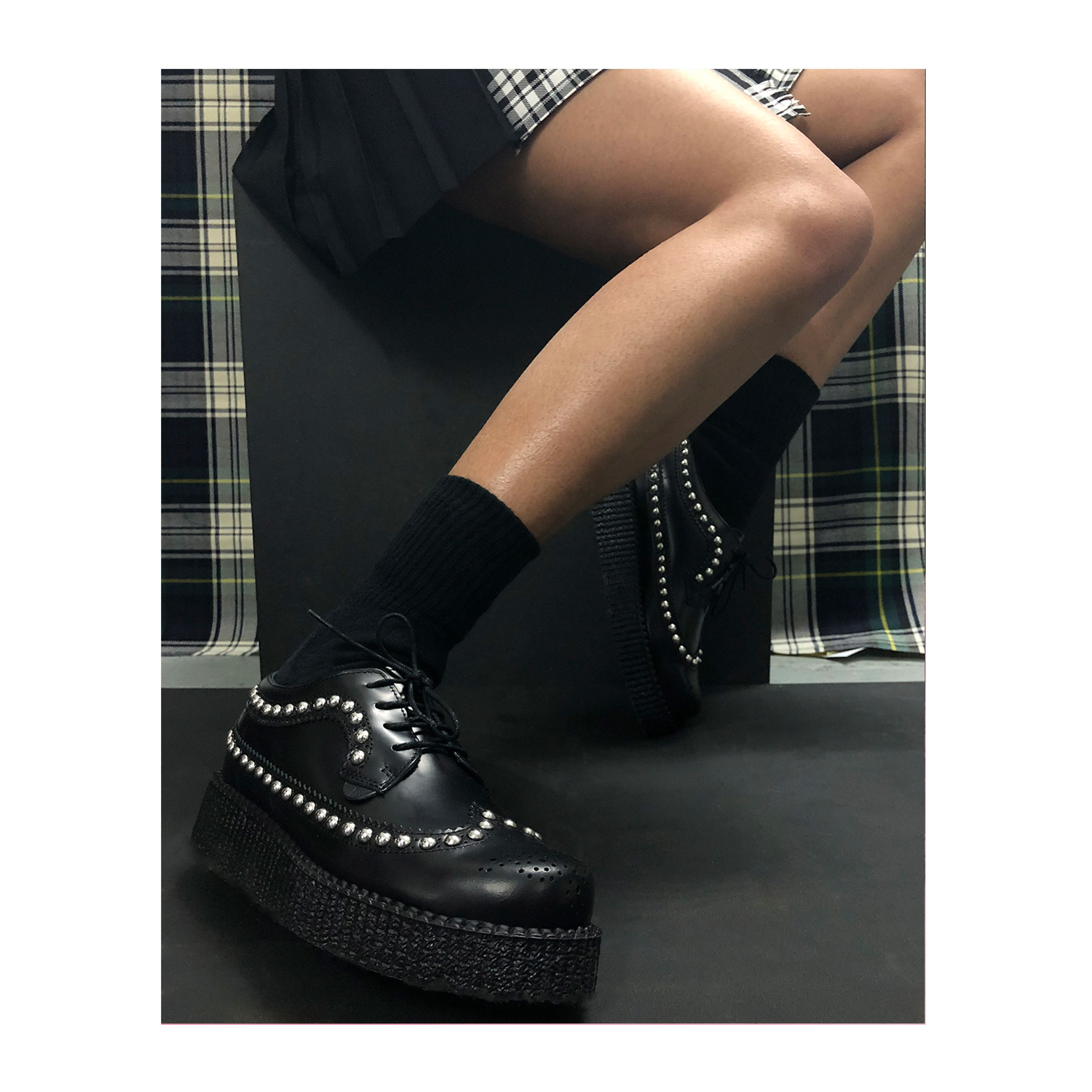 New in  The Macbeth Creeper in Black Leather with Stud Detailing. The  classic Brogue 4b1d0dac303