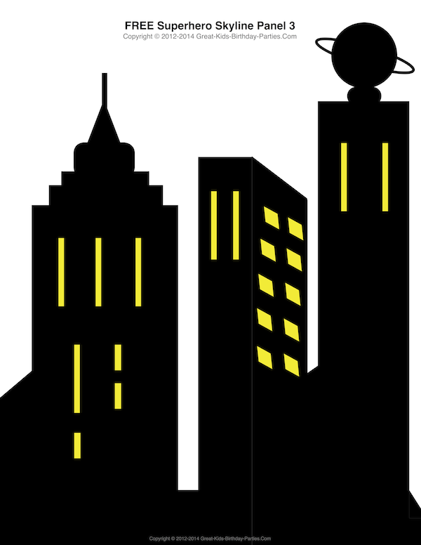 free superhero printables superhero building skyline 4 different building patterns. Black Bedroom Furniture Sets. Home Design Ideas
