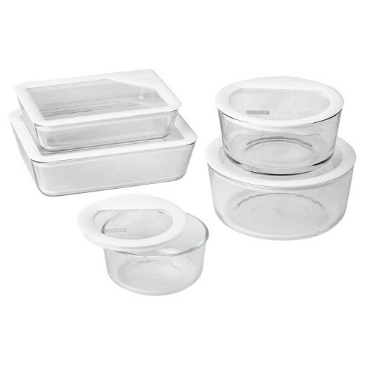 Pyrex 10pc Ultimate Glass Lid Set White Glass Food Storage Pyrex Storage Pyrex Glass Storage