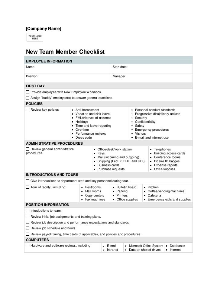 New Employee Orientation Checklist Template – Employee Contact Information Template