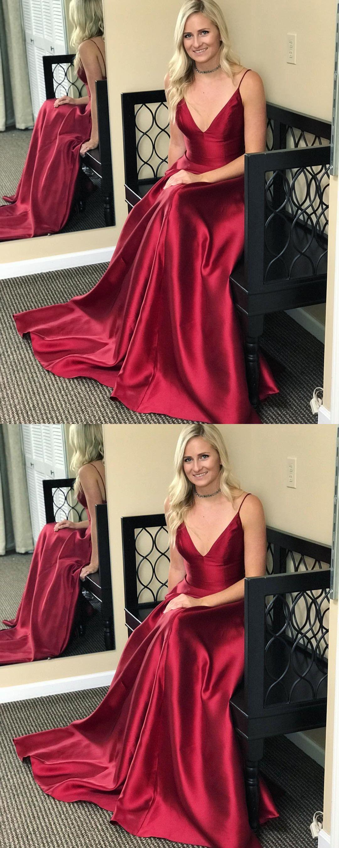 55b1eef08ec Straps V neck Burgundy Long Prom Dress from modsele