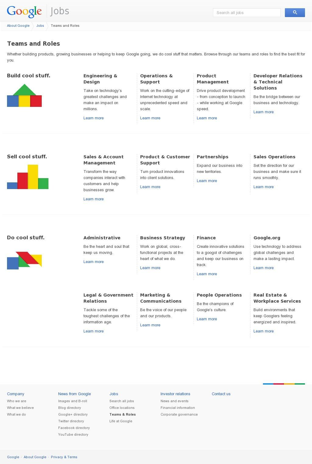 Teams And Roles Google Careers Admin Jobs Business Help
