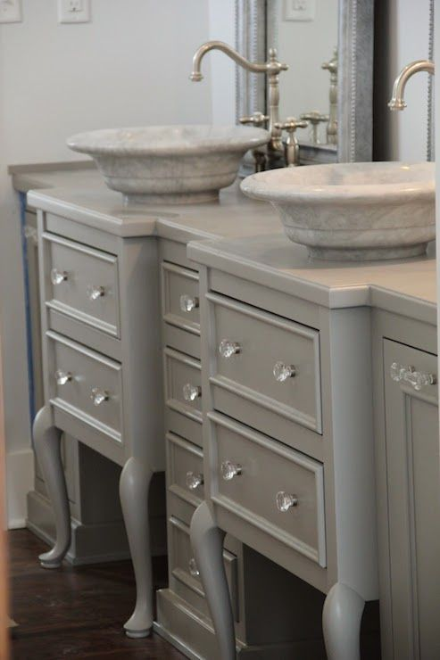 Whimsy Bathrooms Repurposed Vanity Repurposed Bath Vanity Love The Gray Color And Knobs
