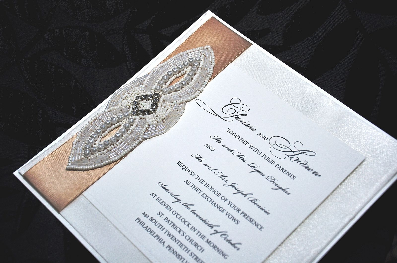 pearls and crystal wedding invitation.   Join us in a workshop to demonstrate how to make your own wedding invitation http://www.uniquelyyoursweddinginvitation.com/creativity-workshops/