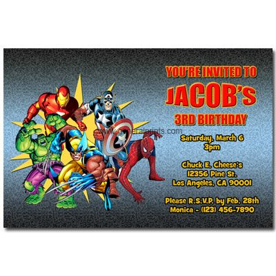 Marvel Superhero Invitations General Prints Superhero Birthday Party Invitations Superhero Invitations Superhero Birthday Invitations