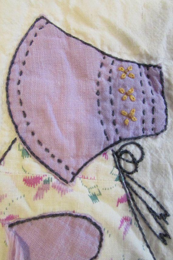 Sun Bonnet Sue Baby Quilt,Vintage Hand made #sunbonnetsue