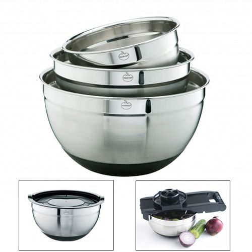 Bol Inox Antiderapant Avec Couvercle X3 Bol Inox Couvercle Et Ustensile Cuisine