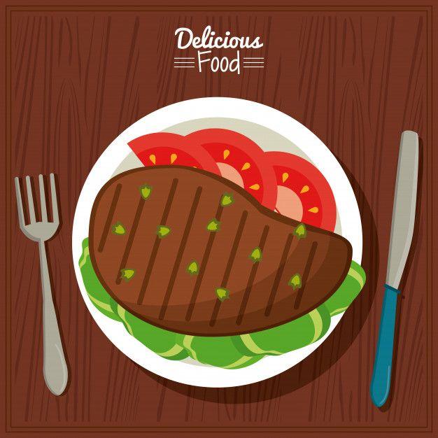 Cubiertos De Cartel Con Plato De Carne A La Parrilla Con Verduras Platos De Carne Carnes A La Parrilla Dibujos De Comida Saludable