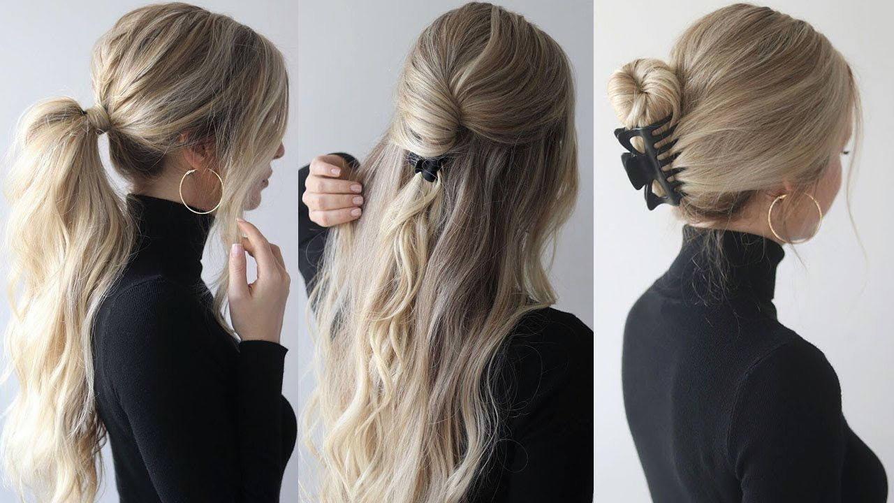 How To Easy Hairstyles W Claw Clips Claw Clip Hairstyles Youtube Clip Hairstyles Second Day Hairstyles Thick Hair Styles