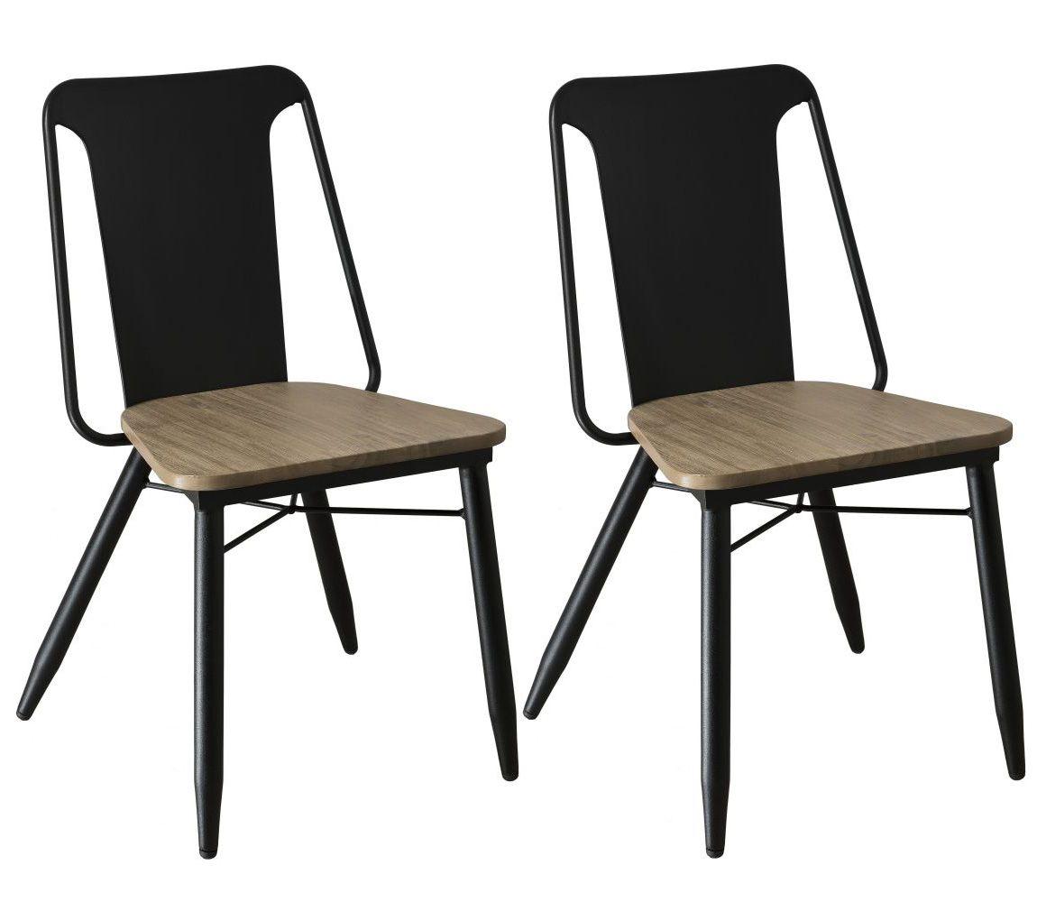 Lot De 2 Chaises En Acacia Couleur Naturelle Et Metal 52x53x84cm
