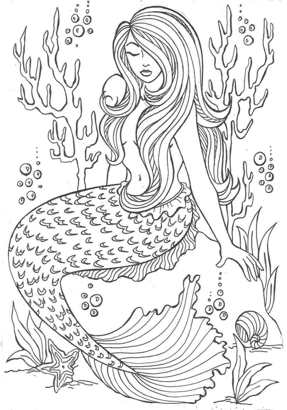 Realistic Mermaid Illustrations Undersea Coloring Sheets  Mermaid