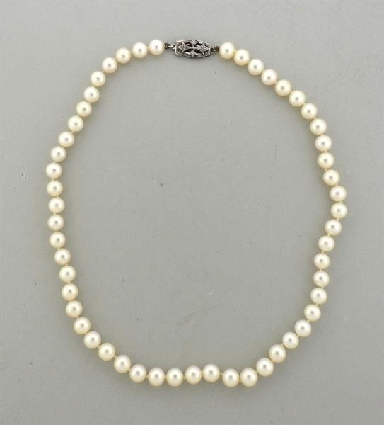 55667237c499c Mikimoto Silver Clasp Pearl Necklace Featured in our upcoming ...