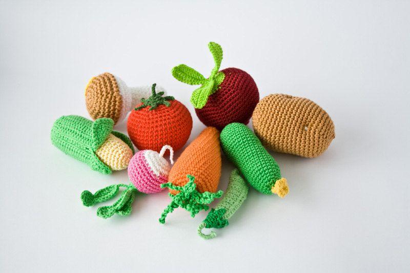 Kitchen Play Set Crochet Vegetables Play Food Pretend Etsy Crochet Food Play Food Crochet Toys
