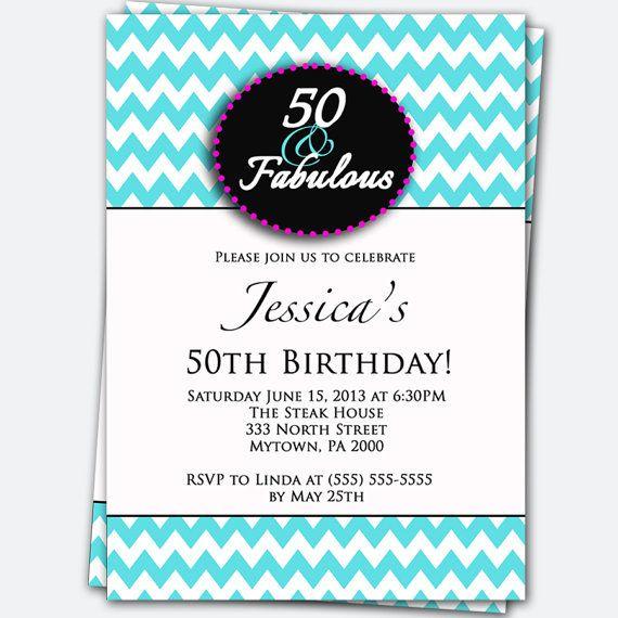 50th Birthday Invitation 50 and Fabulous Tiffany Blue Chevron – Tiffany Blue Birthday Invitations