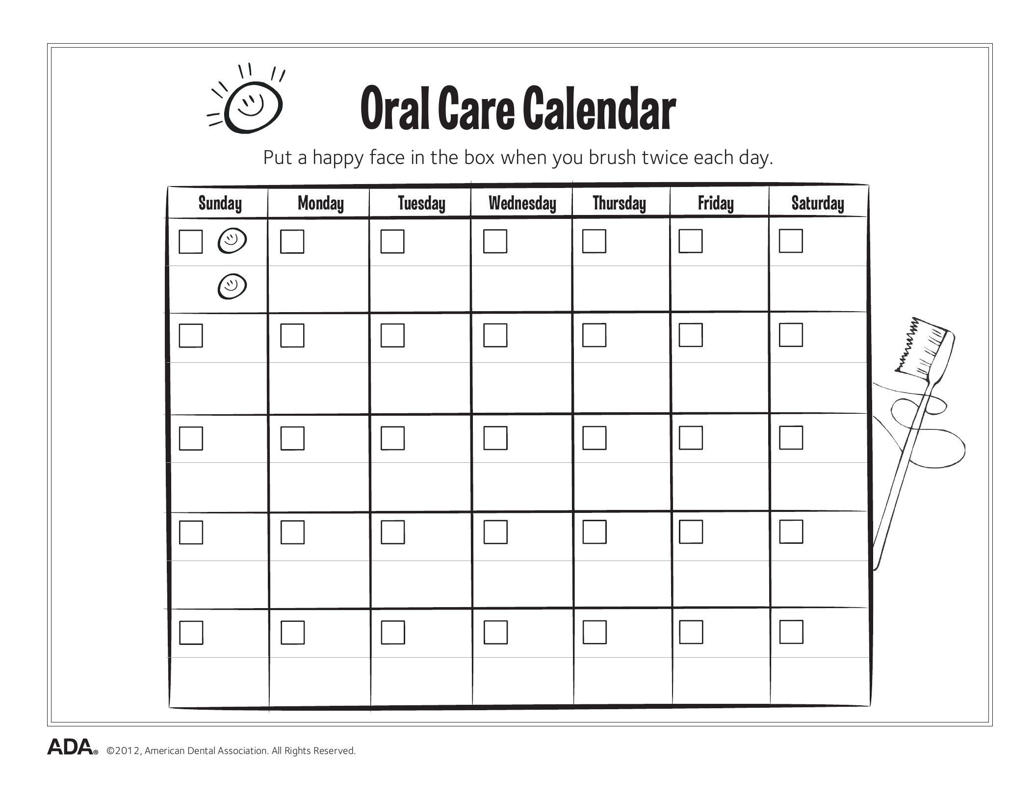 11 Dental Health Activity Sheets Oral Health Made Easy Oral Care Calendar