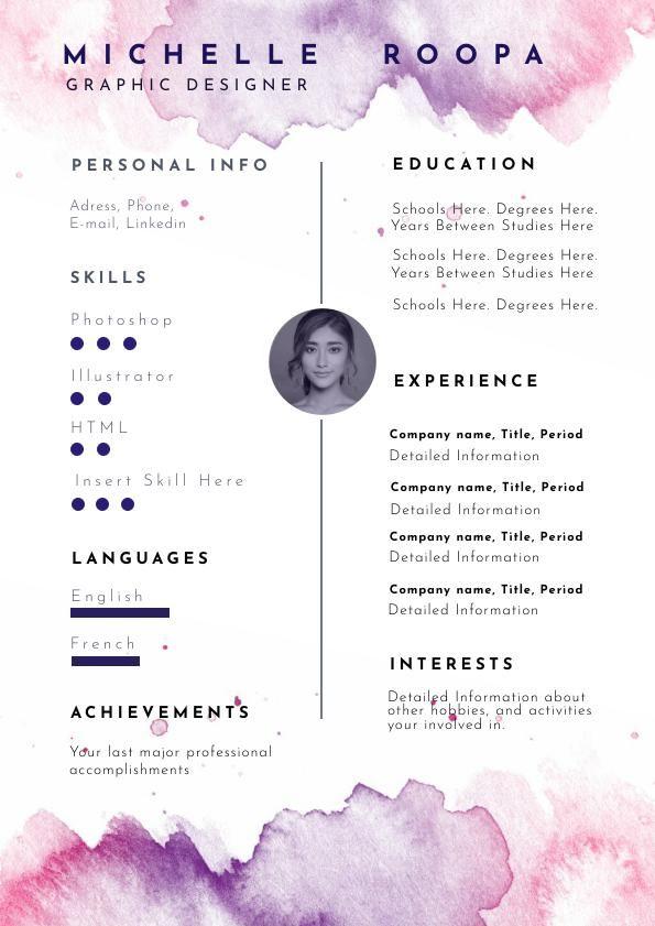 Modello Di Curriculum In Colori Acquerello E Pastello Nel 2020 Con Immagini Curriculum Creativo Cv Creativo