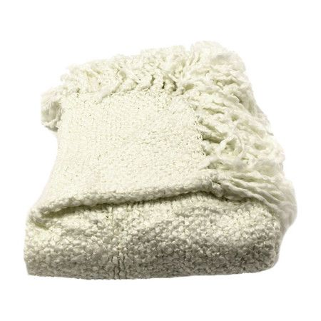 Perfect draped over the sofa or at the foot of your bed, this cozy boucle throw features a chic neutral hue and hand-knotted fringe.     P...