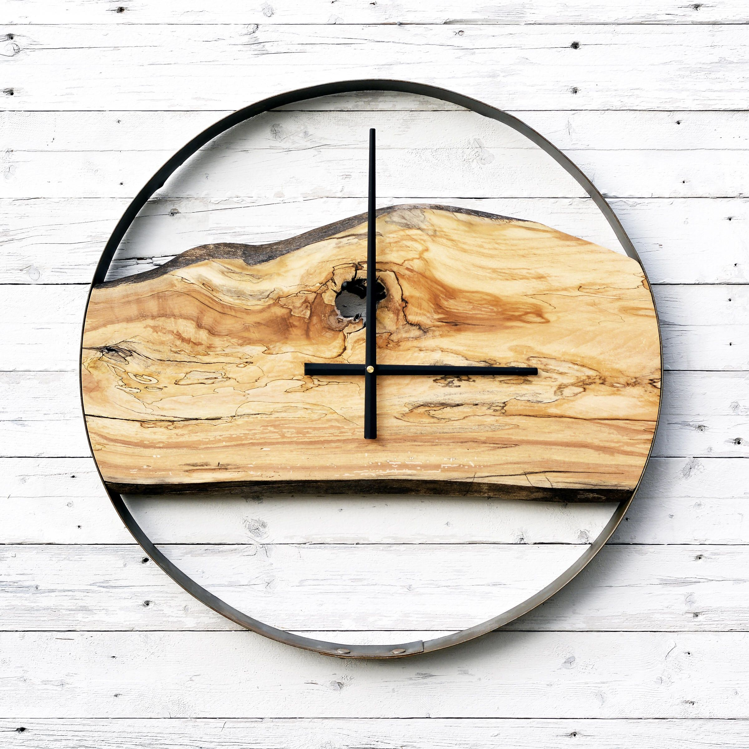 Reclaimed Live Edge Spalted Maple + Salvaged Wine Barrel Ring Clock ...