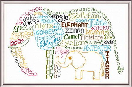 Lets go to the Zoo 'Words' cross stitch pattern designed by Ursula Michael,