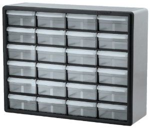 Amazon.com Akro-Mils 10724 24-Drawer Plastic Parts Storage Hardware and Craft Cabinet 20-Inch by 16-Inch by 6-1/2-Inch Black/Grey Home Improvement & Amazon.com: Akro-Mils 10724 24-Drawer Plastic Parts Storage Hardware ...