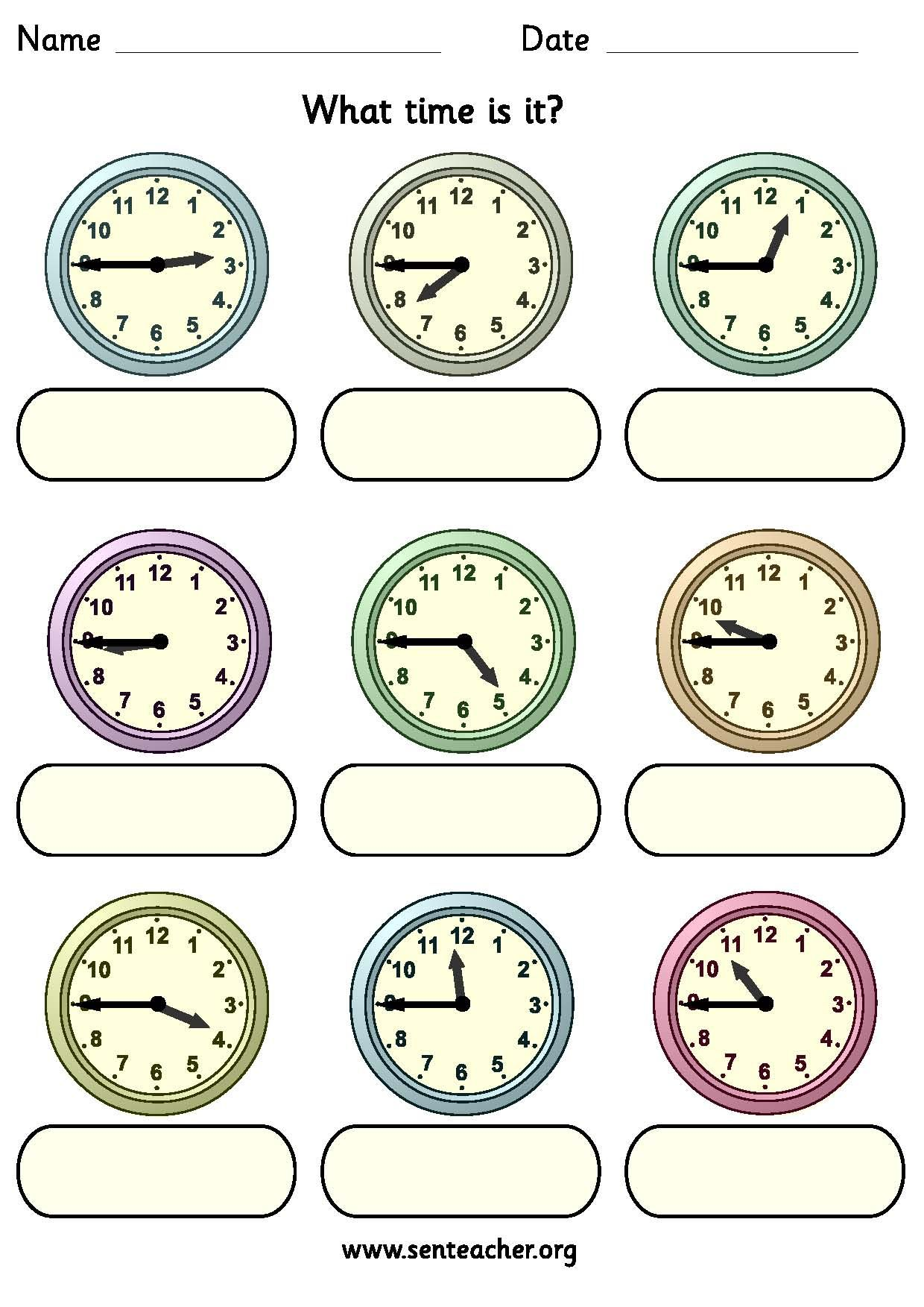 Worksheet Containing 9ogue Clocks Showing Quarter To Times With Space To Write In The