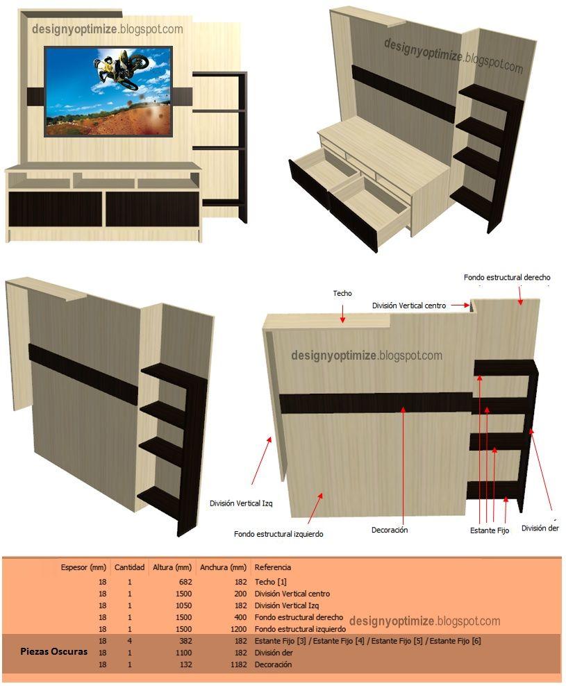 Dise o de muebles madera centro de entretenimiento modelo for Programa para disenar muebles de madera