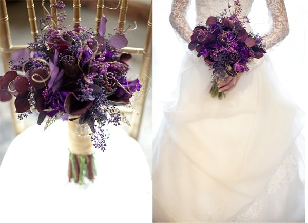 Purple and gold wedding flowers photo