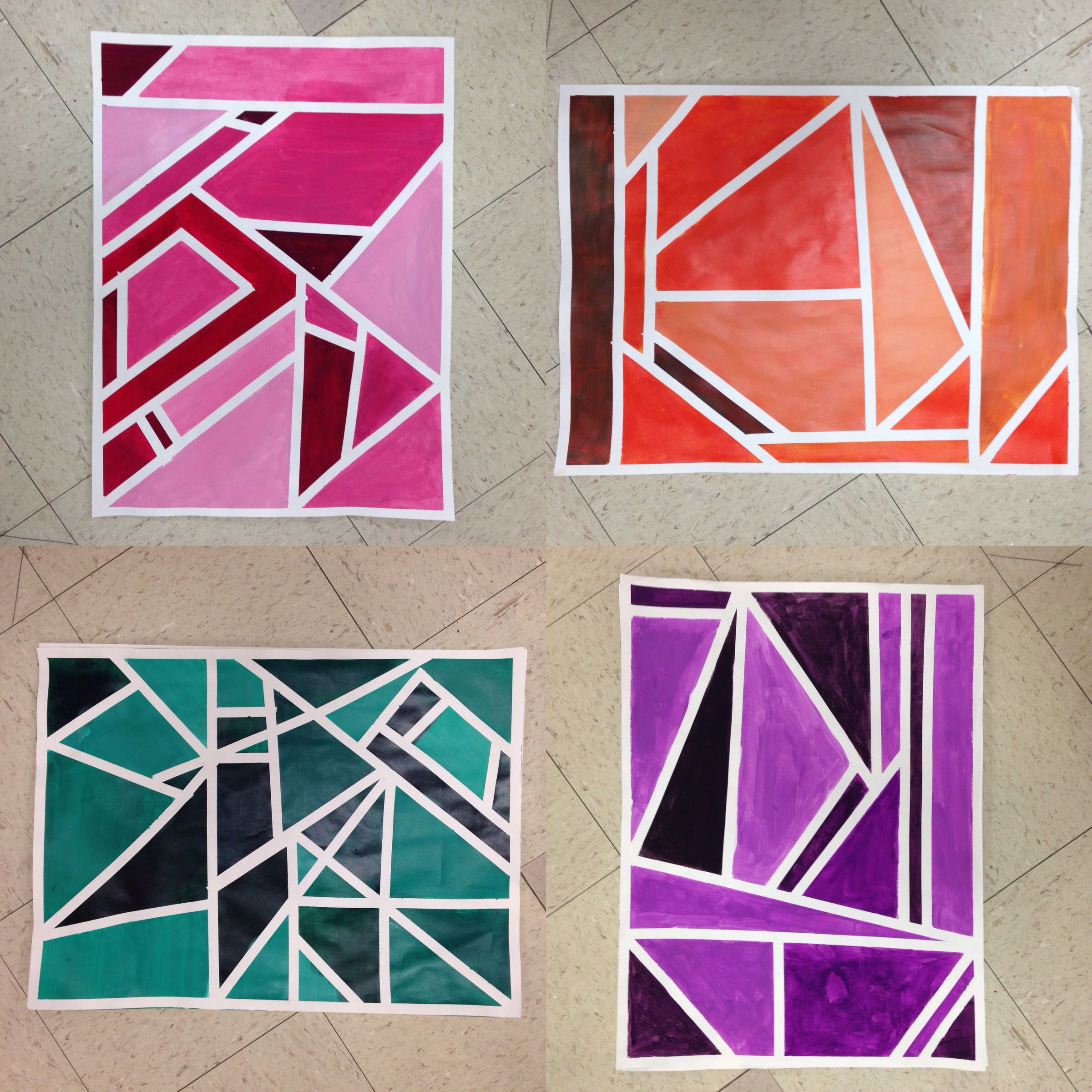 Colour shades activities - Students Used Drafting Tape To Create Interesting Sections Chose A Color And Started To Mix Tints And Shades Monochromatic Colors In Water Colors