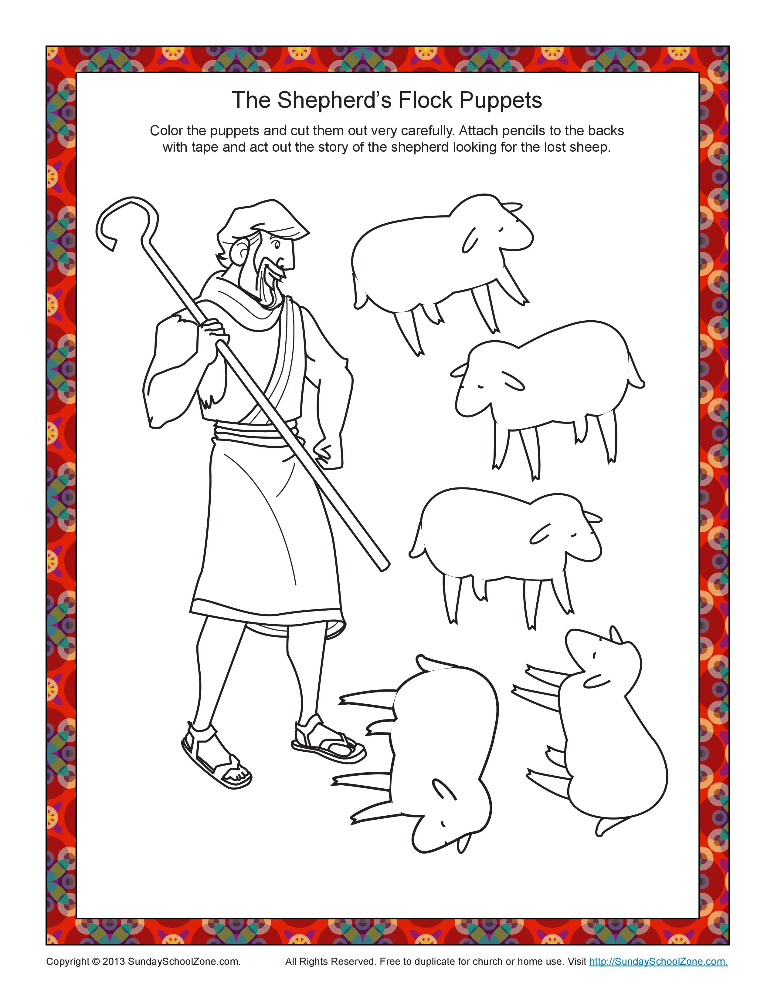 Free coloring page lost sheep - Luke 15 Three Parables Parable Of The Lost Sheep Puppet Figures
