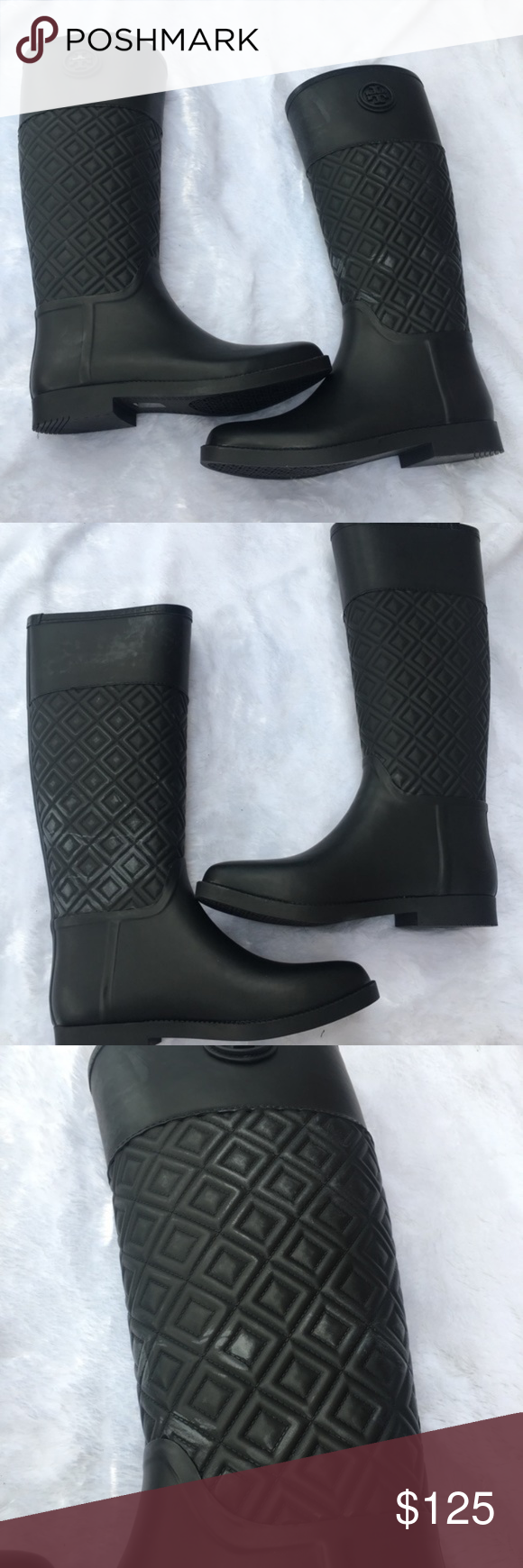8788dd3a0fe971 Tory Burch Marion Quilted Rain Boots Pre-loved! Authentic Tory Burch Marion  Quilted Rain Boots. Color is Black. No box included. Right boot has some  peeling ...