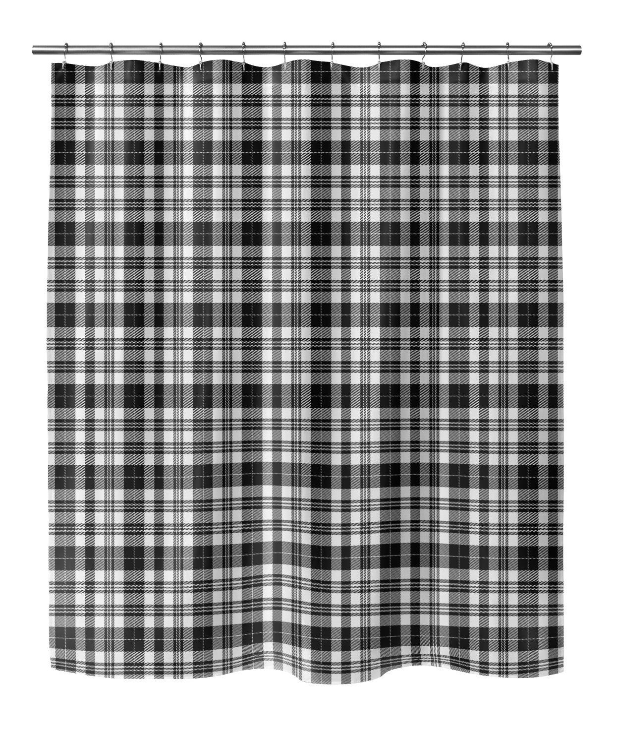 Photo of NOHO PLAID BLACK AND WHITE Shower Curtain By Terri Ellis – 70in x 90in