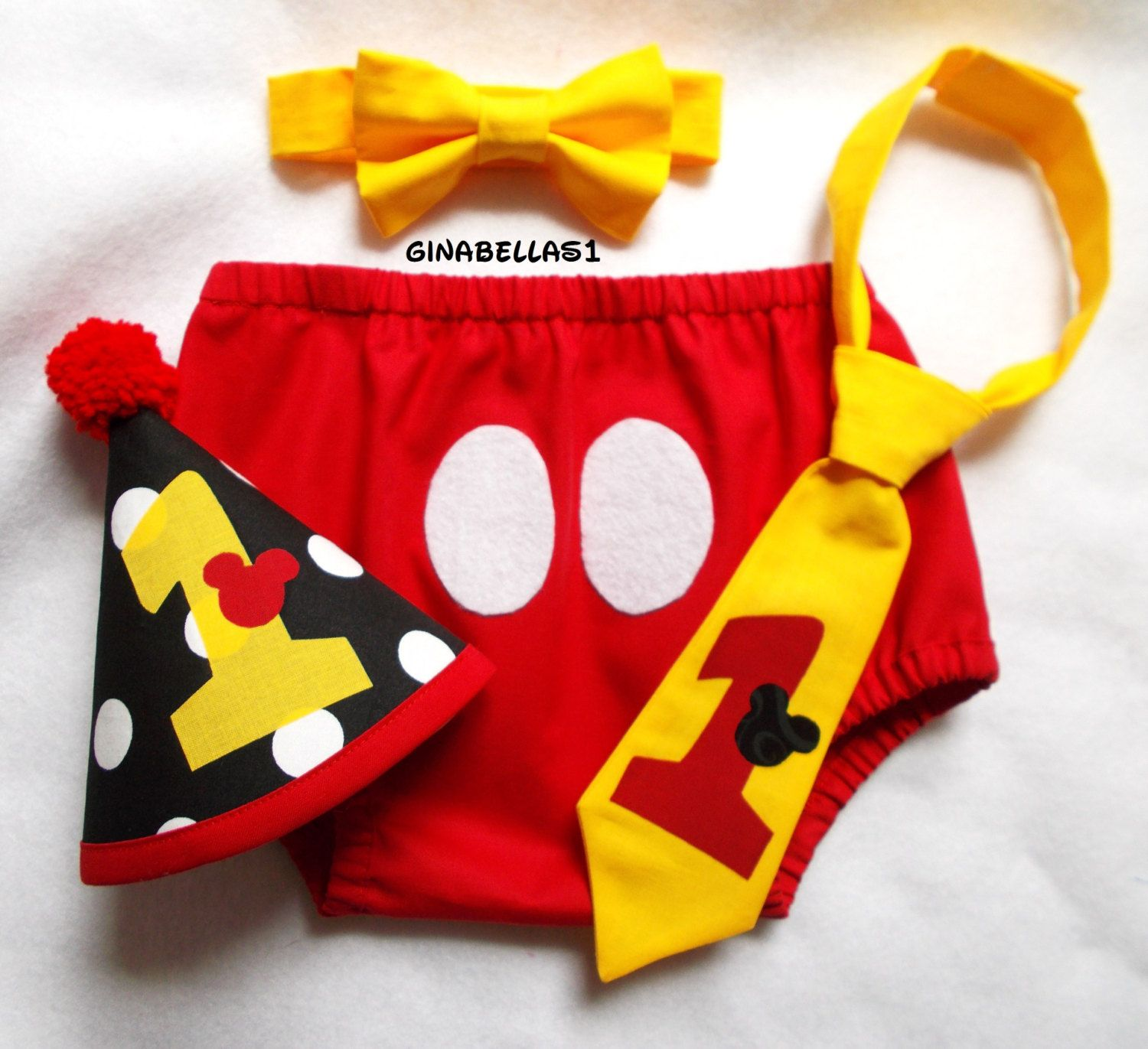 Mickey Mouse Birthday cake smash outfit first boy by GinaBellas1
