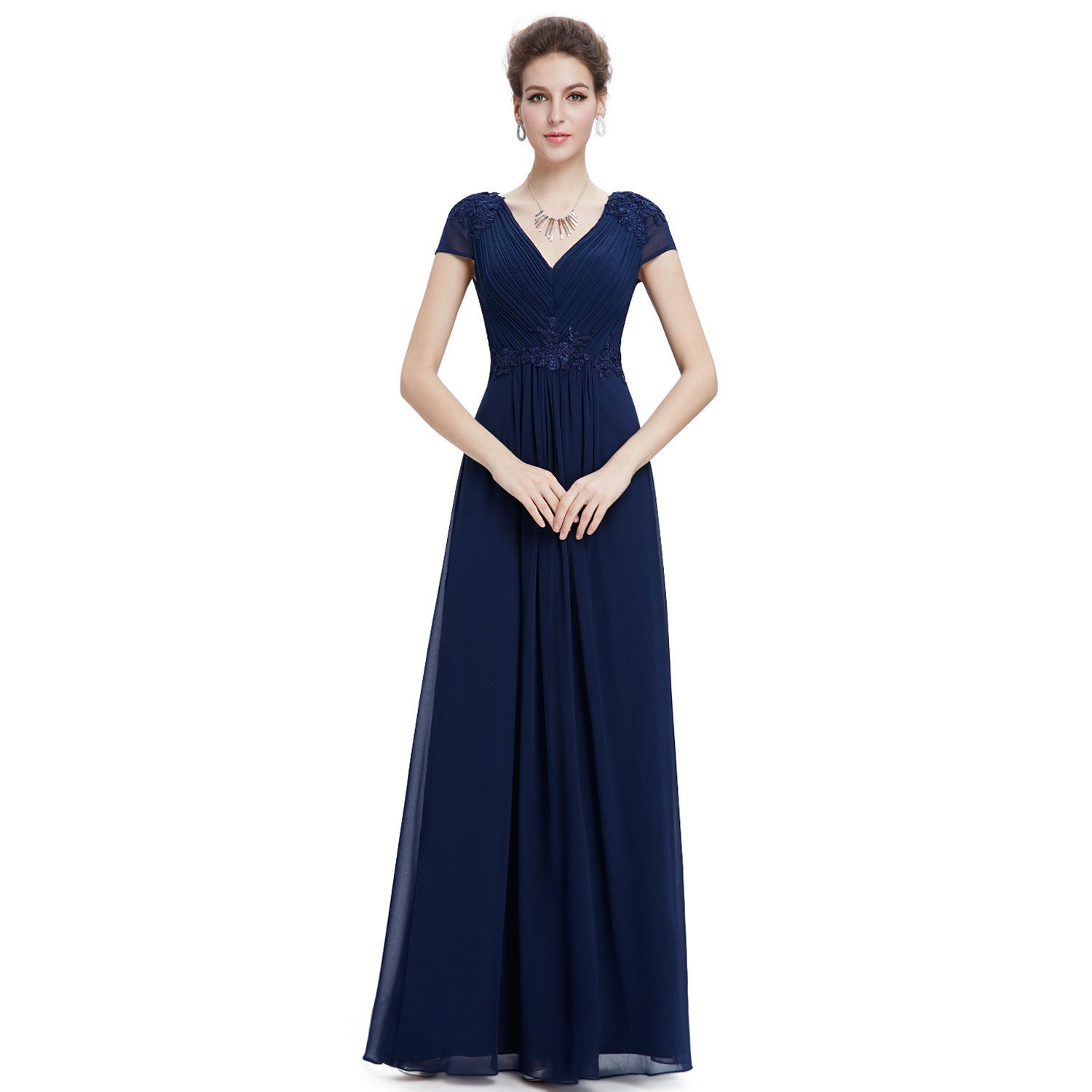 Awesome awesome wedding guest dress vneck evening dress navy