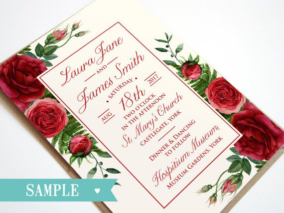 Red Rose Wedding Invitation Ruby Sample By Stnstationery