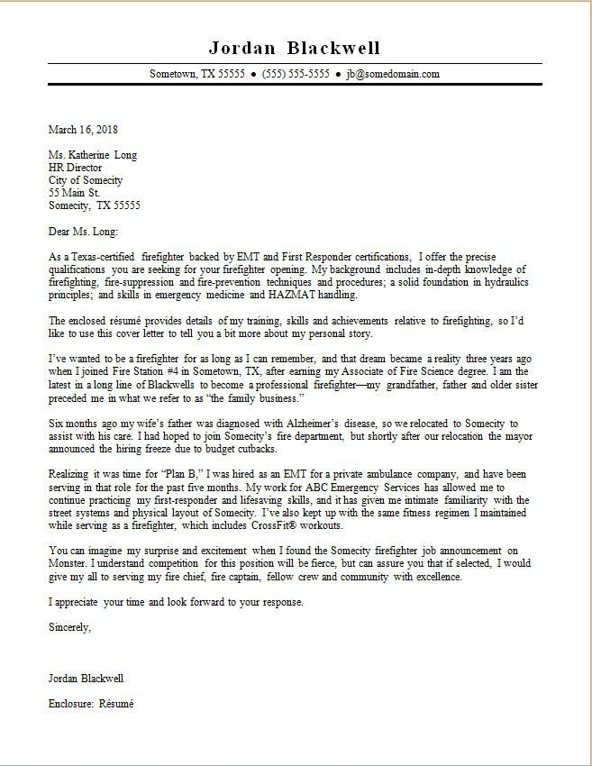 Texas A M Cover Letter Template Firefighter Resume