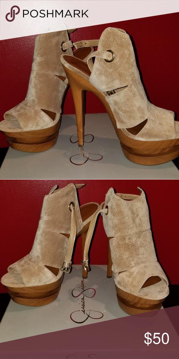 Jessica Simpson heels Jessica ... Simpson tan peep toe heels never worn ... Jessica 171600