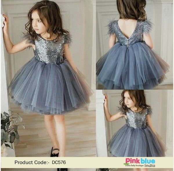 grey colour baby frock  buy girls party wear dress online