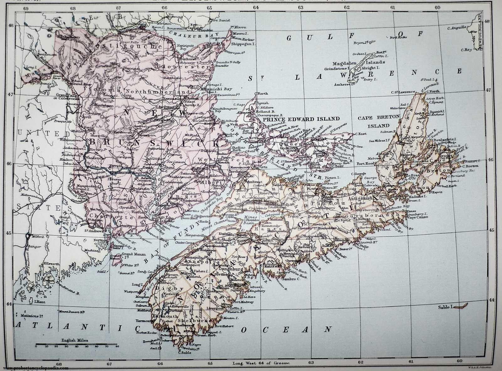 Map Of New Brunswick Nova Scotia And Prince Edward Island