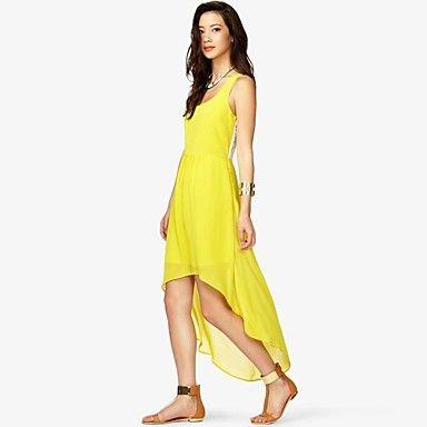 Women's Solid Red/Yellow Dress , Casual U Neck Sleeveless – USD $ 24.99