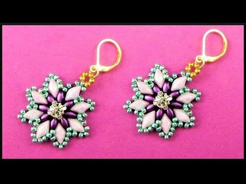 DIY | Perlen Blumen Ohrringe | Beaded flower earrings with gemduos | Beadwork jewelry