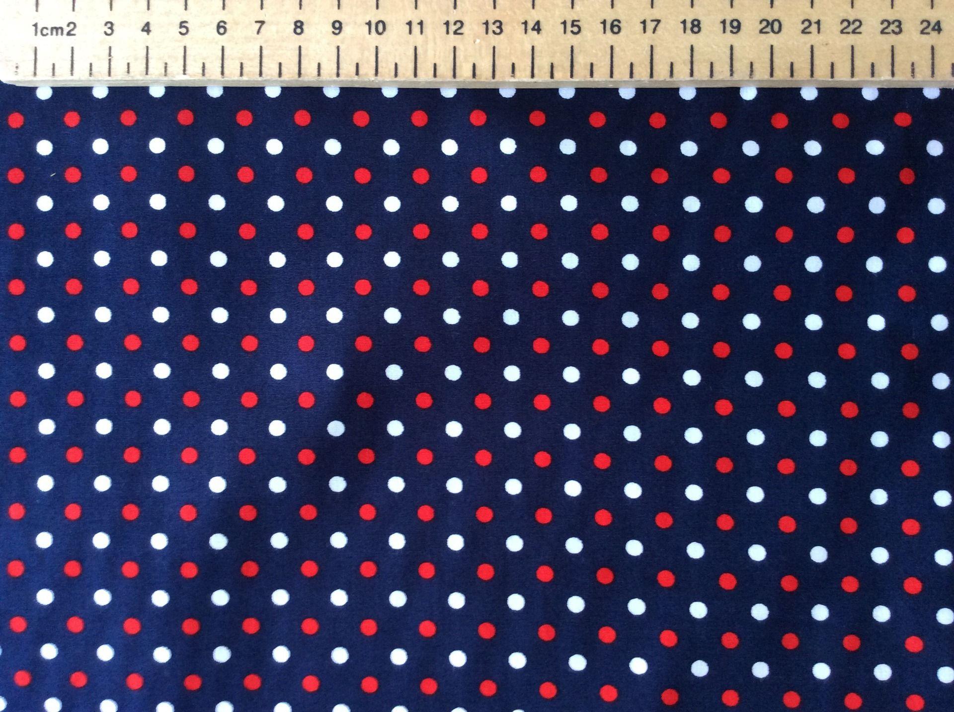Tissu japonais style liberty of London, petits pois rouges et blancs sur fond bleu marine