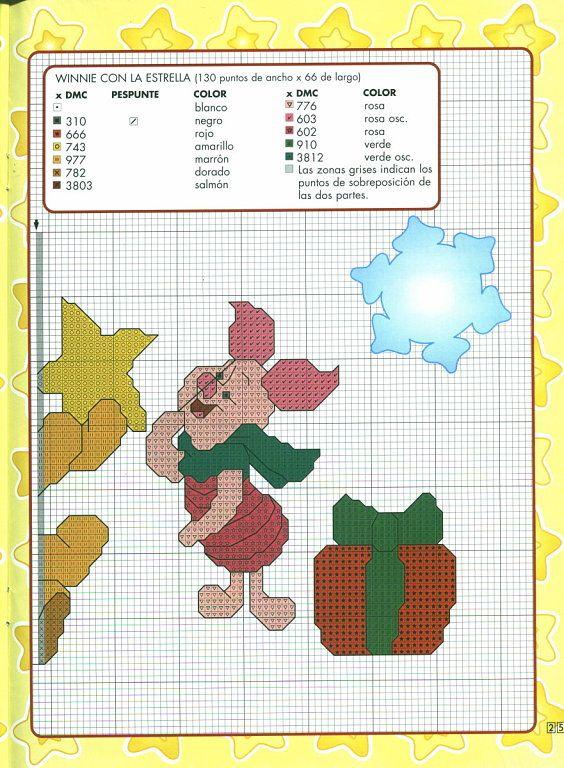 Pooh & piglet w/ star 2 of 2 | Cross stitch | Pinterest | Punto de ...