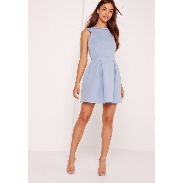 Missguided Scuba Low Back Skater Dress Powder ($56) ❤ liked on Polyvore featuring dresses, blue, pink blue dress, fancy dress, plunging back dress, missguided dress and plunge skater dress