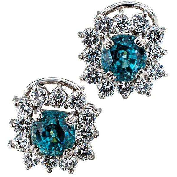 Preowned 1950s Natural Blue Zircon And Diamond Cluster Earrings ($3,500) ❤ liked on Polyvore featuring jewelry, earrings, blue, pre owned jewelry, zircon jewelry, 18k earrings, 18 karat gold jewelry and 18k jewelry