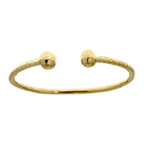 10k Yellow Gold Baby West Indian Bangle W Ball Ends With Images West Indian Bangles Silver Necklace Designs Bangles Indian